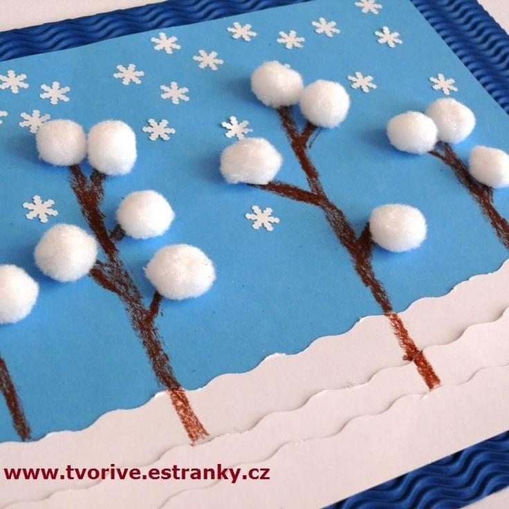 Kunst in der Grundschule: Bäume im Schnee