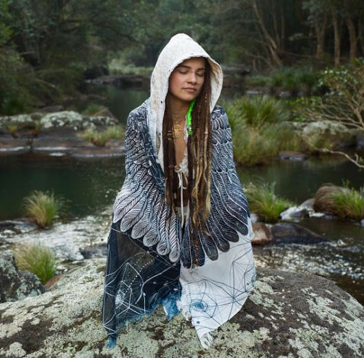 Black and White Feather Bird Wings Pashmina Sarong Scarf, Totem Festival Gypsy Bohemian Clothing Digital Printing Nature Ajjaya Rave Art