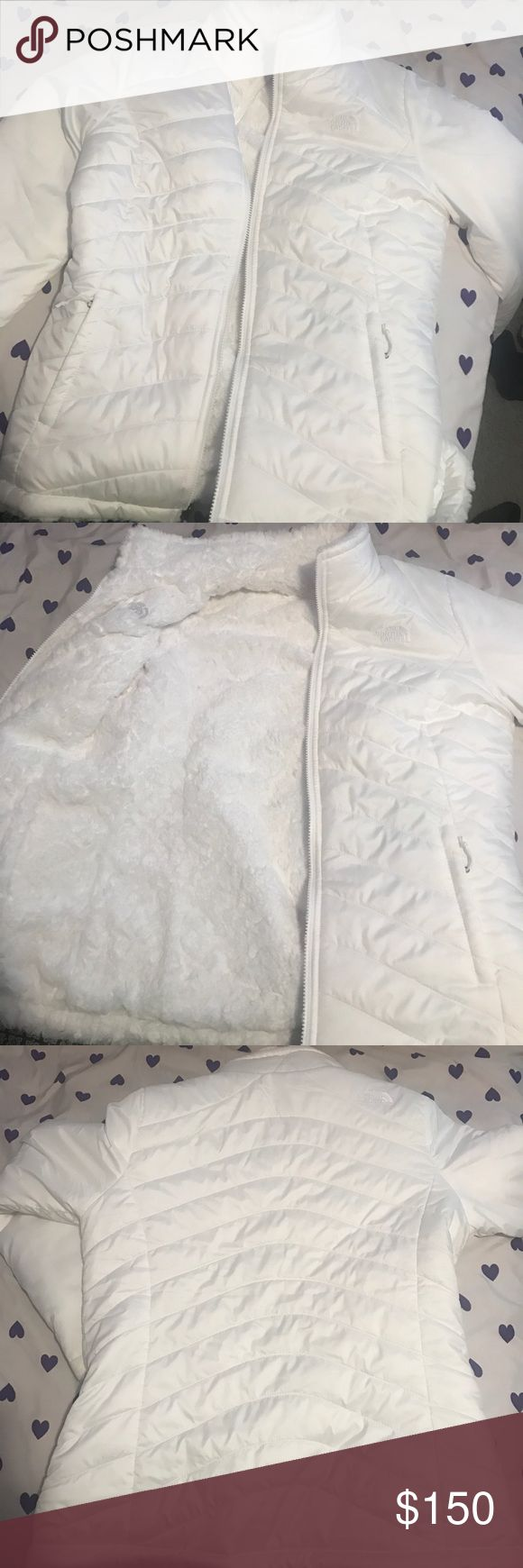 Reversible North Face Winter Jacket It is an all white reversible North Face jacket. One side is a windbreaker and the other is all fur! Worn only a few times! North Face Jackets & Coats Puffers