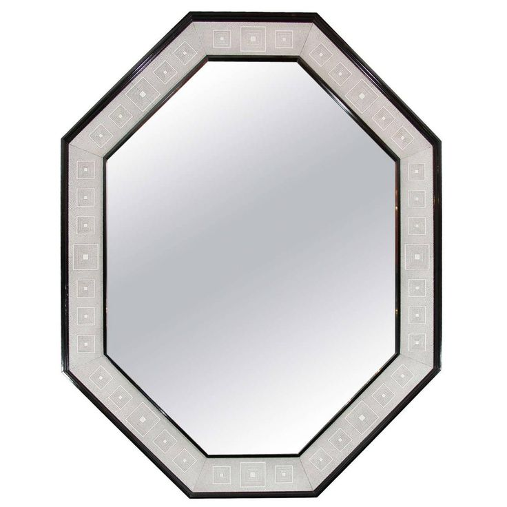 Faux Shagreen and Brown Lacquered Octagon Mirror