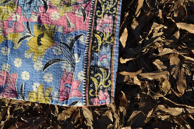 JESSA - floral KANTHA blanket pink blue / light vintage saree THROW / boho kids room tablecloth curtain / vintage bedding bohemian by TheKanthaProject on Etsy