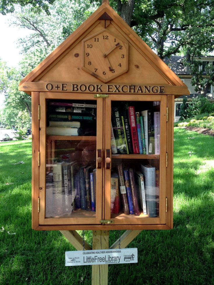 Stacy Bednar. Minneapolis, MN. We LOVE our little library and our community seems to as well! My son (age 7) and I fell in love with the Little Free Library concept about a year ago. My uncle is a woodworker and I hired him to build us a library--and a library we got!! Iit has multiple levels of shelves and can hold numerous books! It has a clock whose hands turn with windows on the sides of the library. It is stocked with books almost always due to a partnership I formed with a local…