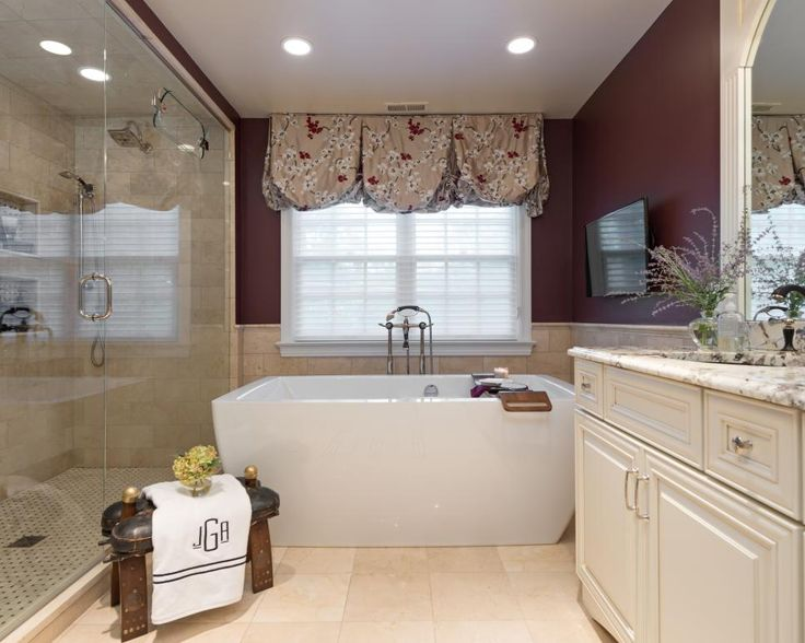 Elegant Burgundy Bathroom With Soaking Tub   Walk In Shower A large walk in  shower and freestanding bathtub create a spa like vibe in this luxurious. Best 25  Burgundy bathroom ideas on Pinterest   Burgundy room