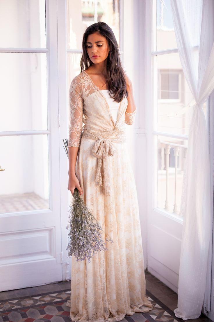 Golden Lace Dress Long Sleeves | Mimètik Bcn - Gouden kanten jurk met lange…