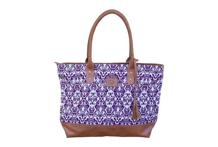 Sorayane - Leather and Indonesian Batik Tote Bag