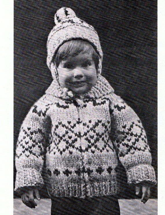 Vintage Knitting Pattern  - Sweet Childs Hat and Sweater