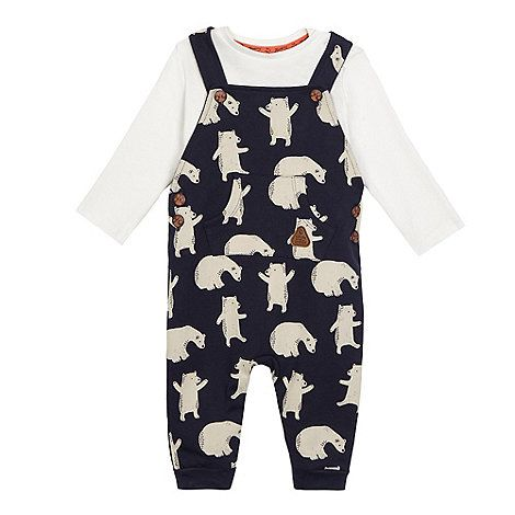 MANTARAY Baby boys' navy bear print dungarees and cream long sleeved top set | Debenhams