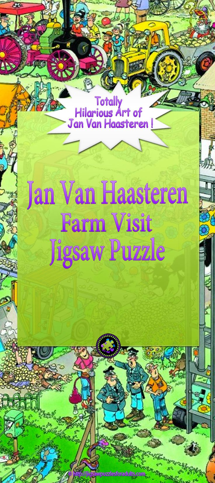 If you LOVE Jan Van Haasteren illustrations and artwork and you enjoy working on Jigsaw puzzles you'll want to checkout this Jan Van Haasteren Farm Visit jigsaw puzzle for adults. We loved working on this 3000 piece puzzle and when finished it measured 48 inches by 33.5 inches. It's a challenging jigsaw puzzle but it's a whole lot of fun.