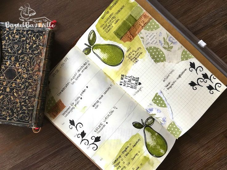 Midori Traveler's Notebook, TNB, Journal, Organizer, Diary, Stampin Up, SU, Berlin, Vintage, Vintagestyle, stempeln, stanzen, staunen, fresh fruit, aqua painting