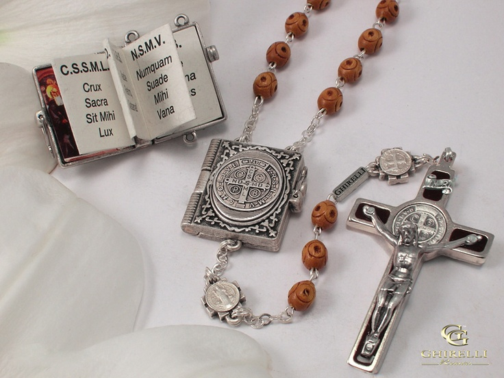 St benedict silver plated rosary mm wood beads