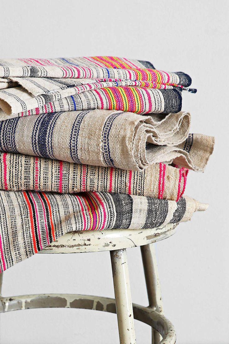 Vintage Pink Stripe Hemp Fabric