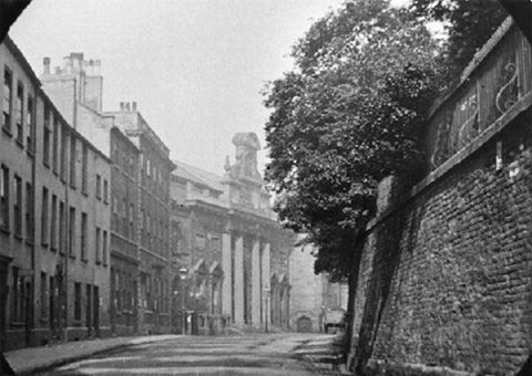 High Pavement, Lace Market, Nottingham, c 1895 looking west. St Mary's Church yard, south side. High Pavement on left showing Shire Hall.
