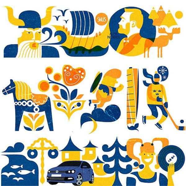 VW sweden illustrations