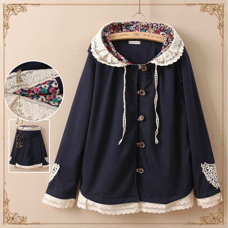 Japanese cute lace hooded coat
