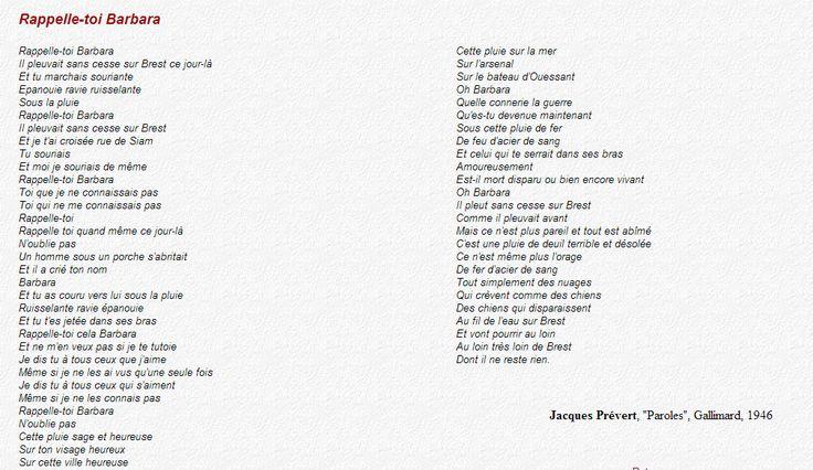 Rappelle-toi Barbara - Jacques Prévert