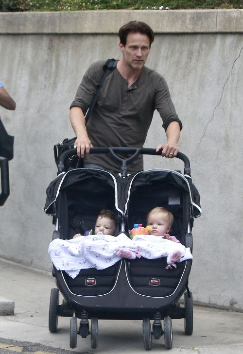 Stephen Moyer Steps Out With The Twins Britax B Agile
