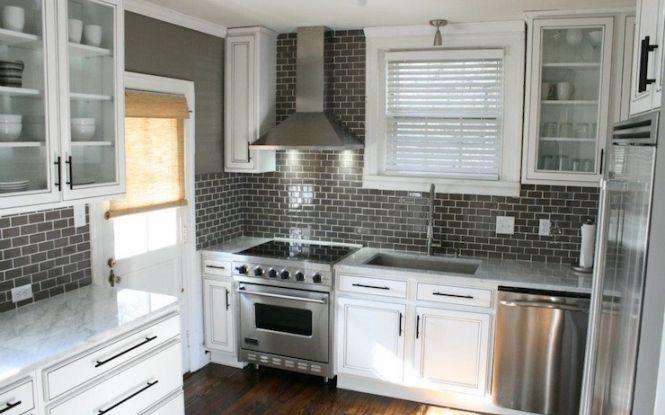 gray subway tile kitchen backsplash | Kitchens warm gray walls gray glass subway tiles backsplash white