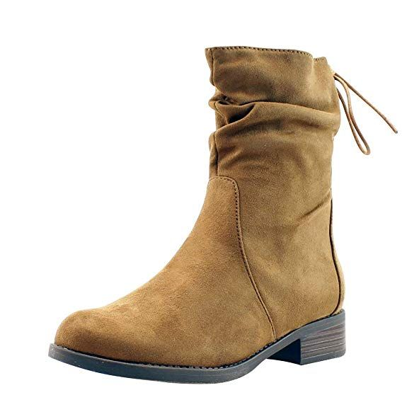 1a5b993e4b2b Amazon.com | Forever Vogue Women's Tan Slouchy Faux Suede Boots - Comfort  Stacked Chunky