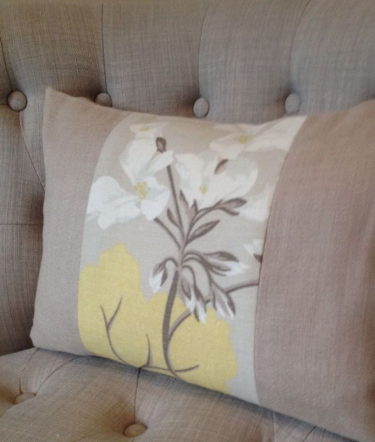 Cushion cover in Laura Ashley Millwood Camomile & Bacall truffle, 12x16