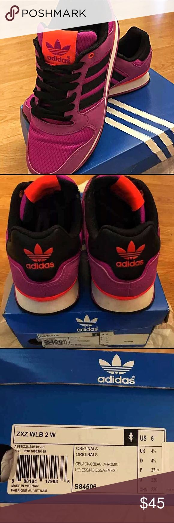 Adidas Original's ZXZ wlb 2 Color: purple/black/neon orange Running shoes that offers a speedy looks and lightweight build. Only worn once, very good condition. adidas Shoes Sneakers