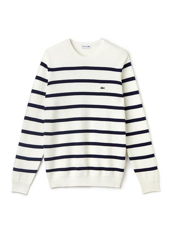 Deze mooie trui van Lacoste vind je nu via Aldoor in de uitverkoop #heren #mannen #mode #trui #shirt #sweater #strepen #men #fashion #sweater #stripes #sale