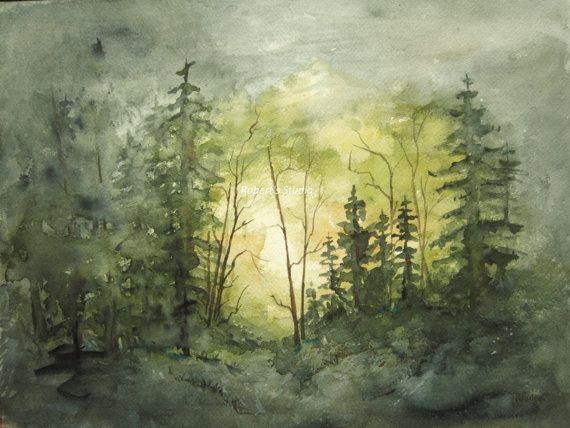 Aquarell Landschaft Malerei Archival Print Wald Malerei Aquarell