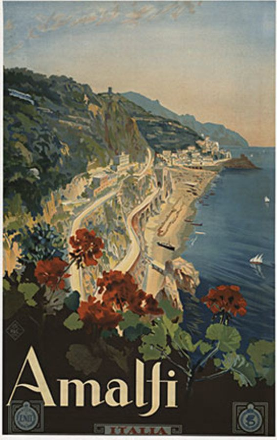 """Amalfi Italia • c. 1925 • 24"""" X 38"""" • Stone-Lithograph • INV. #13488 • Rare Amalfi Italia original ENIT travel poster. The Italian Government Tourist Board was founded in 1919 and is represented by E.N.I.T. The purpose of E.N.I.T. Was to promote tourisim to Italy around the world; and was done with the use of these great posters. Printer: Richter D.C. Napoli This is a very rare original c. 1927 stone lithograph for the Italian Tourist Board for travel to the Italian Coastal..."""