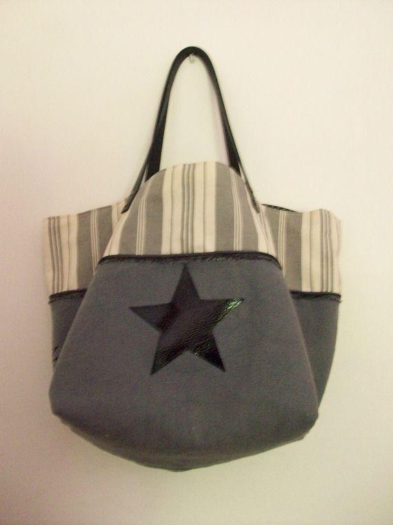 Tote τσάντα ρουστίκ γκρι καμβά βαμβακιού, και σημειώνοντας, αστέρι και δερμάτινα χερούλια