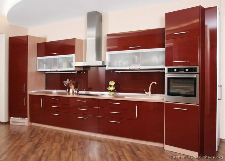 Stunning Kitchen Cabinet Ideas For Modern People: Incredible Kitchen  Cabinet Ideas With Modern Red Angled Cabinets Wood Floor Design Combined  With Beige ...