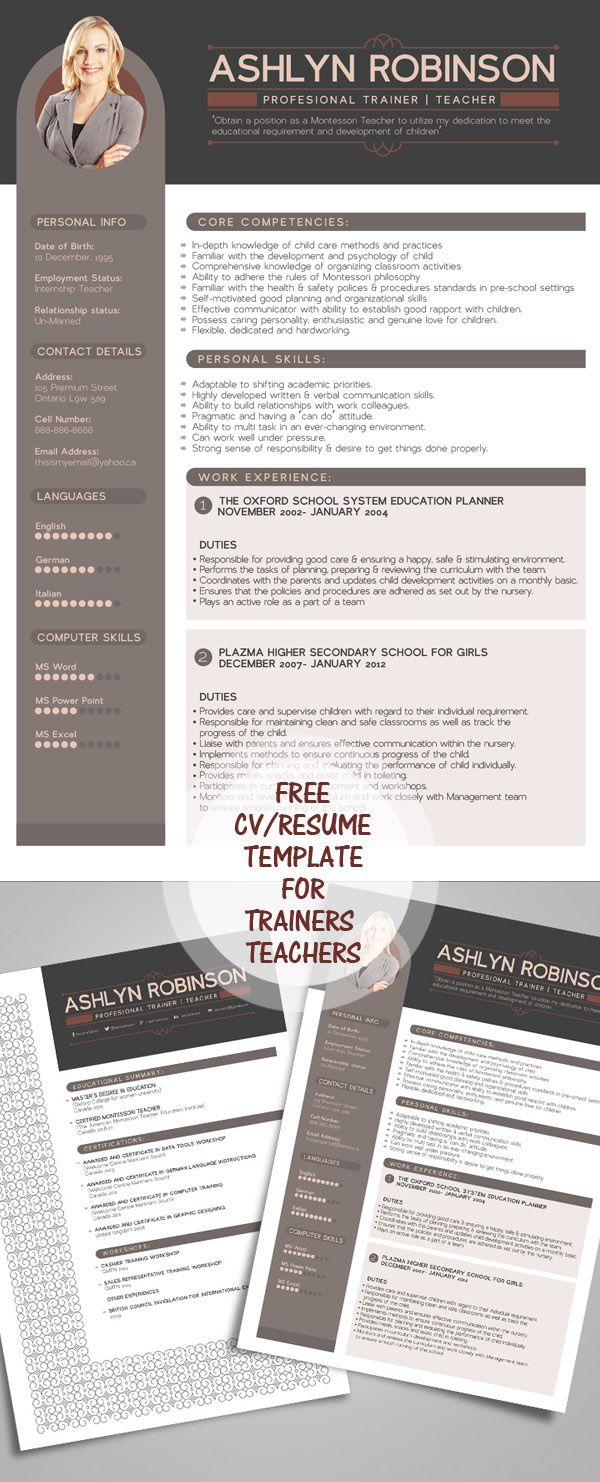 Free Resume CV Design Template for
