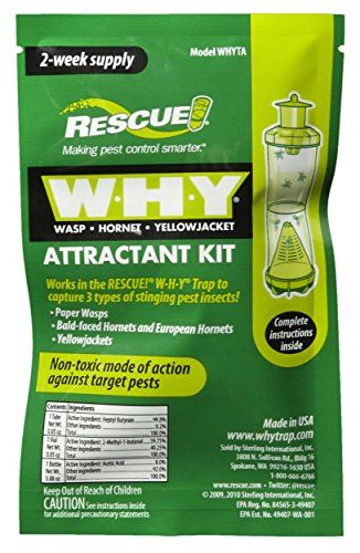 Rescue - WHY Wasp, Hornet, Yellow Jacket Trap Attractant Refills (12 PACK) > Quantity of (12) : Rescue 2 Week Supply W.H.Y Wasp , Hornet , Yellowjacket Attractant Refills Works in Rescue brand WHY Traps and many others Non Toxic Mode of Action Draws Problem Wasps, Hornets and Yellowjackets to Traps
