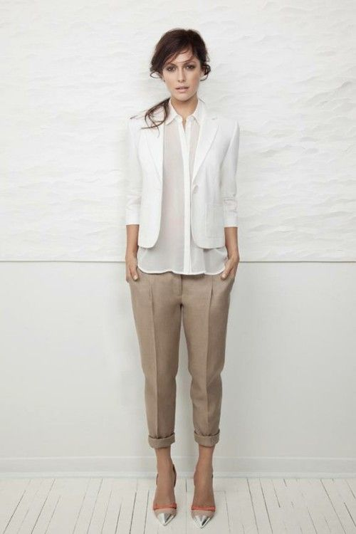 Simple things -- white blouse, white blazer, khaki dress pants, heels.  Hair tossed and pulled back.