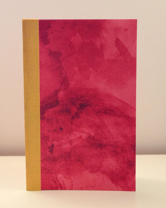 Day 5: Pink with Yellow Spine Softcover Notebook by BoundedPaper on Etsy