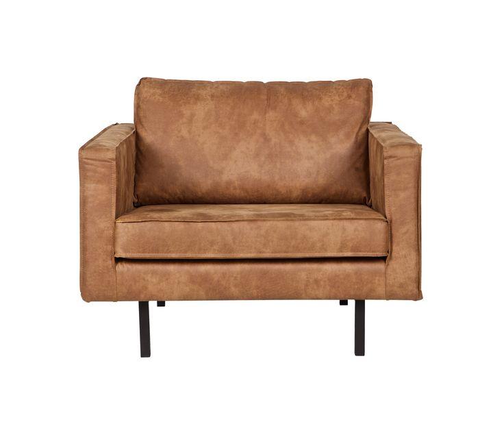 BePureHome Rodeo loveseat 1,5 fauteuil velvet cognac vrijstaand