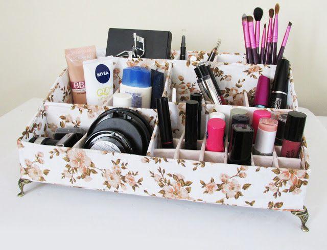 Ideias Personalizadas : DIY: Como Fazer Organizador de Maquiagem com Papelão e Tecido