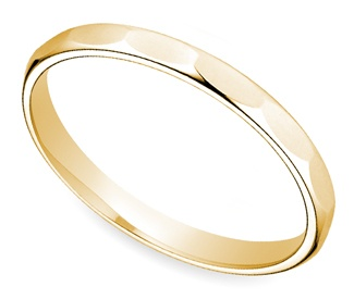 Faceted Women's Wedding Ring in Yellow Gold