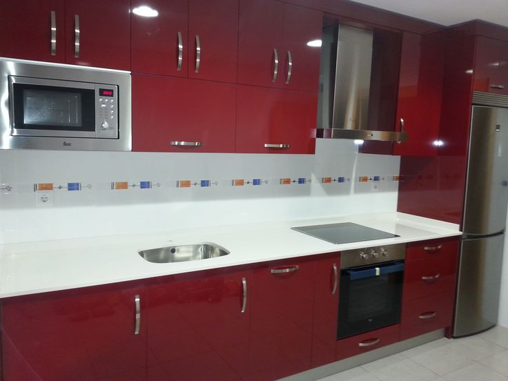 Las cocinas rojas Red kitchen, Brushed nickel and Countertop