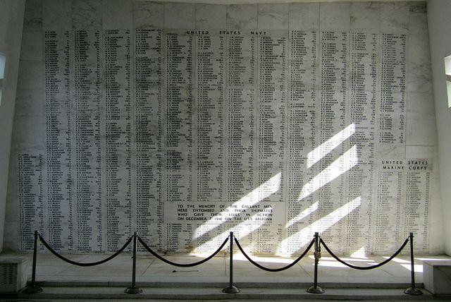 pearl harbor memorial | ahu - Honolulu - Pearl Harbor: USS Arizona Memorial - Shrine Room ...