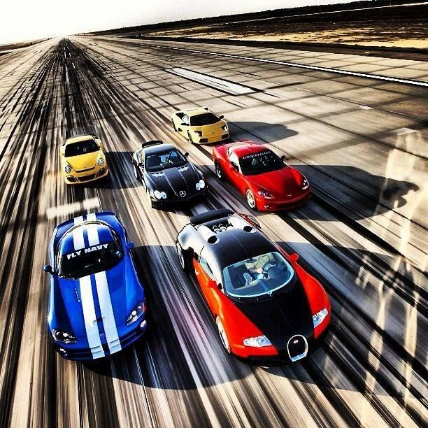 Bugatti Veyron leading the pack! The Bugatti and the Lamborghini are my  favorite. Go on, pick two of your favourites.