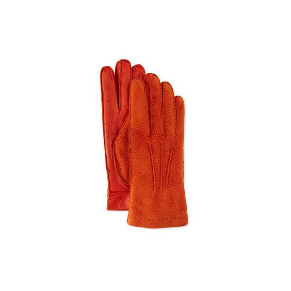 Italguanto Cashmere-Lined Capybara Leather Gloves ($72) ❤ liked on Polyvore featuring accessories, gloves, orange, leather gloves, evening gloves, orange leather gloves, palm gloves and orange gloves