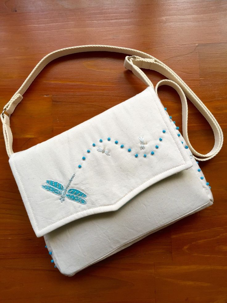 Mini Messenger Classic Cotton Twill Fabric Shoulder Bag with embroidered dragonfly by EverSewNice on Etsy
