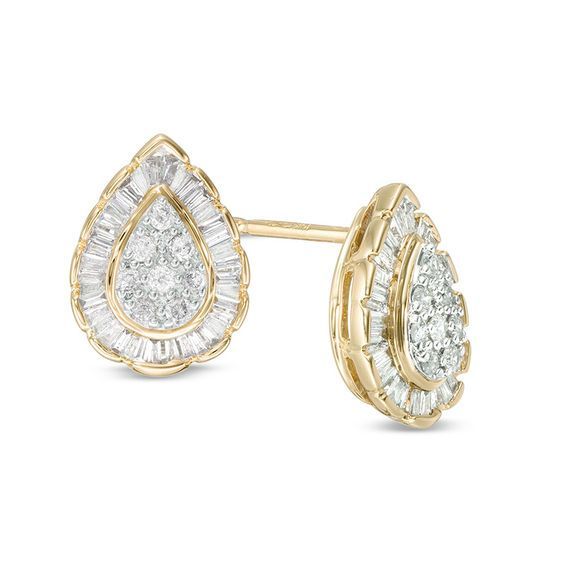 1 4 Ct T W Composite Diamond Teardrop Frame Stud Earrings In 10k Gold Zales Outlet Black Hills Gold Jewelry Stud Earrings Earrings
