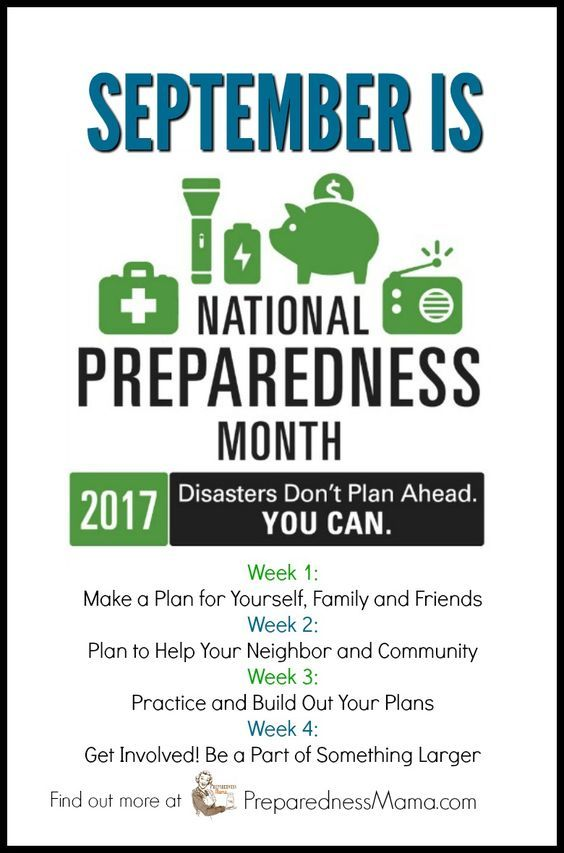 September is National Preparedness Month and it's a big deal for us in the preparedness community. Follow these weekly tips to get prepared #NaltPrep
