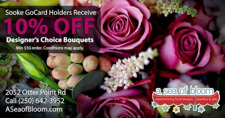 Nothing makes a statement gift quite like a floral creation designed by award-winning designer Karen Stones. Present your Sooke GoCard and receive 10% OFF Designer's Choice Bouquets over $50! http://thegocard.ca/category/retailers #ASeaofBloom #SookeGoCard