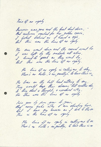 Time of No Reply, in Nick Drake's own handwriting