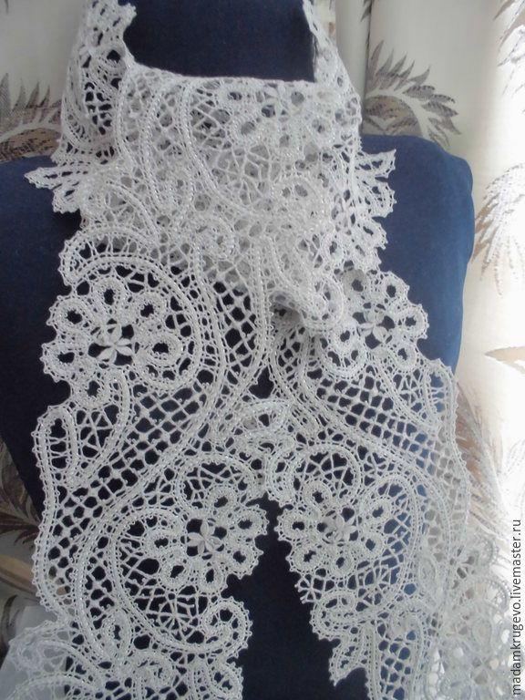 Купить Шарф кружевной Полынь серебристая вологодская техника плетения - серый, цветочный, шарфик