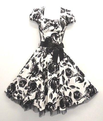 Stunning Black and White WWII 1940's Style Roses Tea Swing Dress 8 18 | eBay