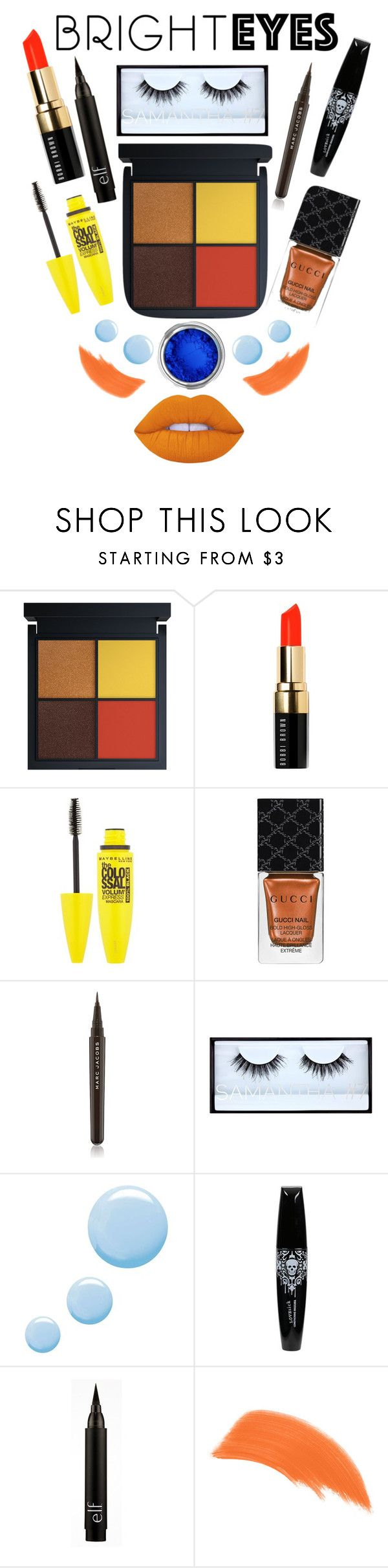 """Bright Eyes "" by stylebycharlene on Polyvore featuring beauty, Bobbi Brown Cosmetics, Maybelline, Gucci, Marc Jacobs, Huda Beauty, Topshop, By Terry, Lime Crime and Beauty"
