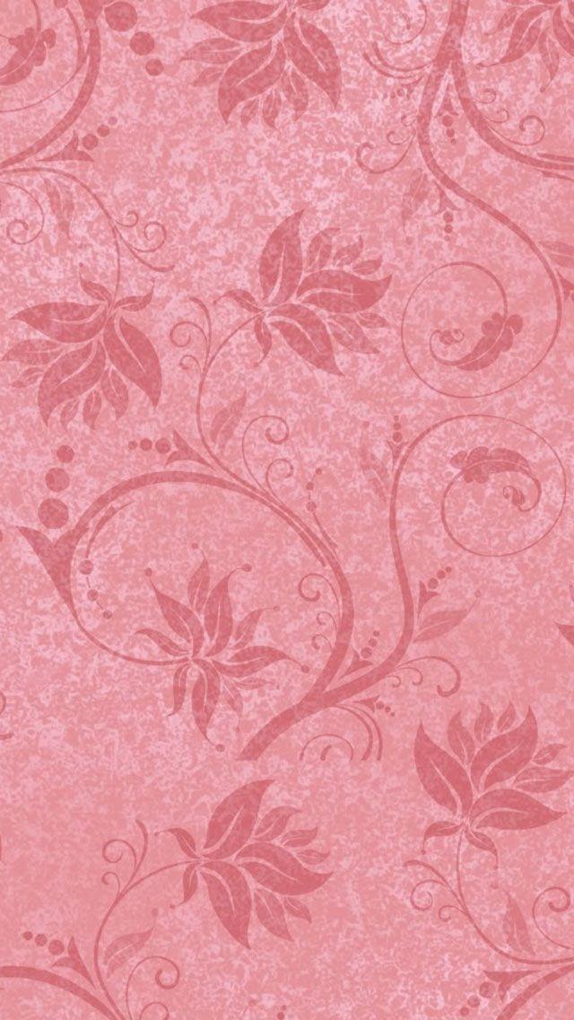 Pink Leaf Pattern iPhone 5 Wallpaper.