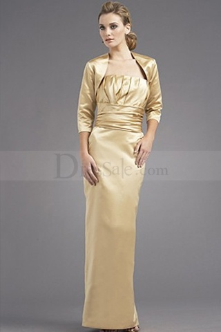 Graceful Gold Strapless Bridesmaid Gown Accompanying Jacket